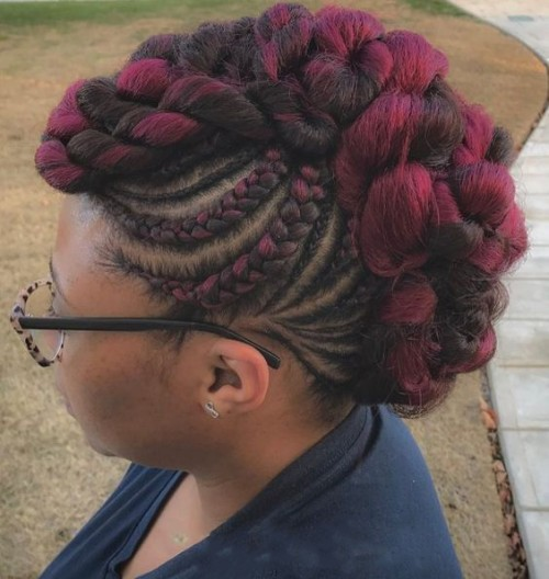 Red Highlights with Mohawk Braids