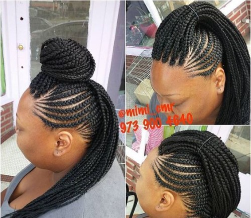 7. Braided Topknot and Ponytail with Box Braids