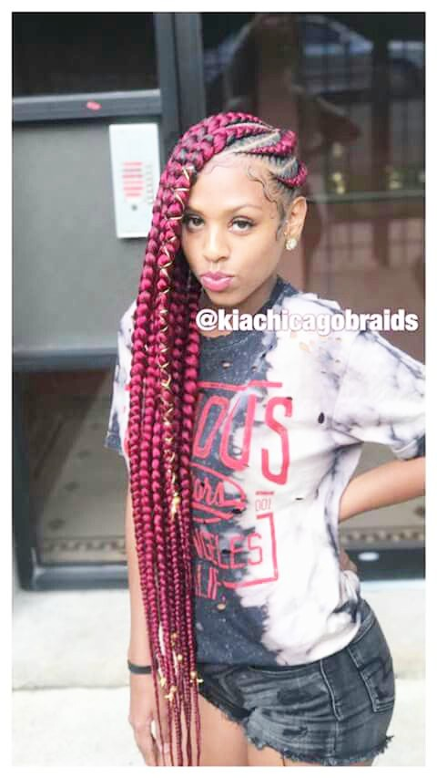 Red Color Side Cornrows