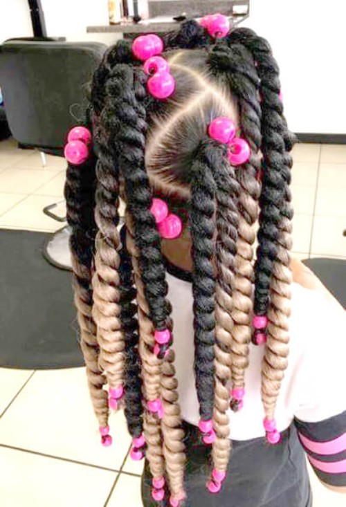 Twisted Braids , Pink Beads