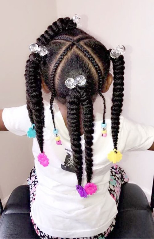 22 Adorable Braids With Beads Hairstyles For Black Kids New
