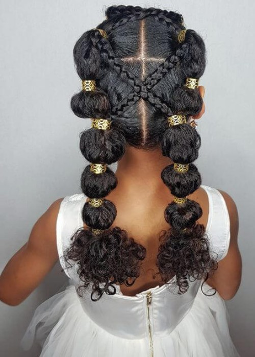 Puffy Braids with Beads
