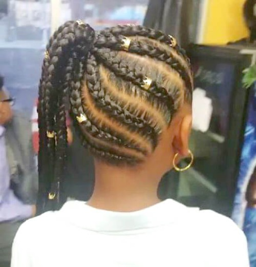 Cornrows with Golden Beads
