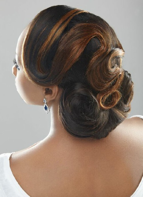 natural hair bun with weave