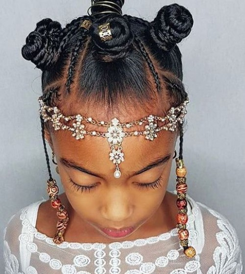 Black Kids hairstyles with Beads