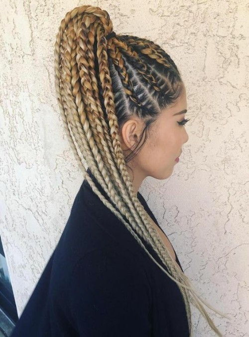Blonde Braided High Ponytail