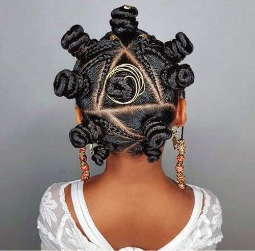 Braided Bantu Knots with Beads